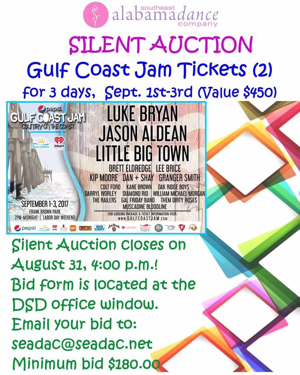 2017 08 31 Silent Auction Gulf Coast sign