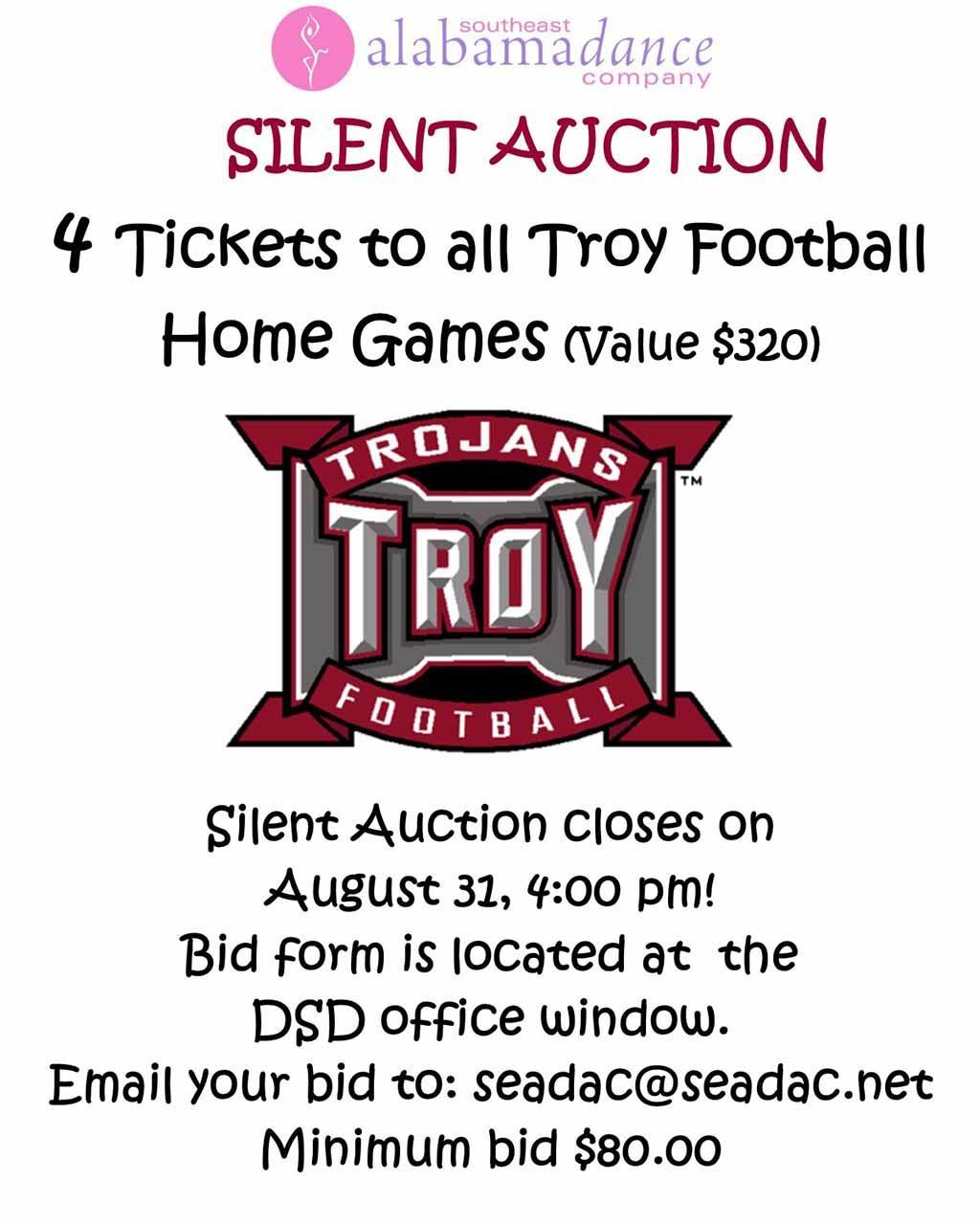 2017 08 31 Silent Auction Troy Football sign